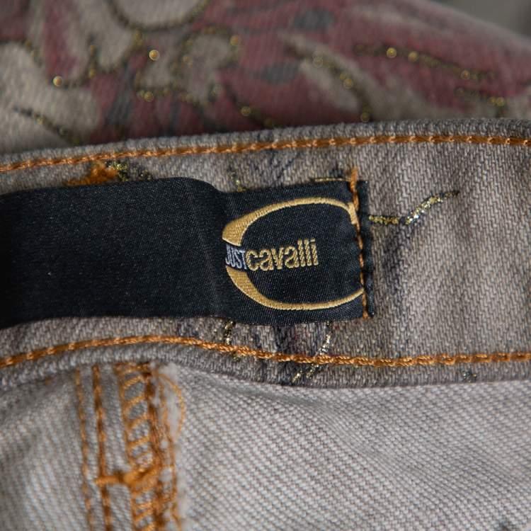 Just Cavalli Grey Floral Printed Denim Glitter Detail Bootcut Jeans M