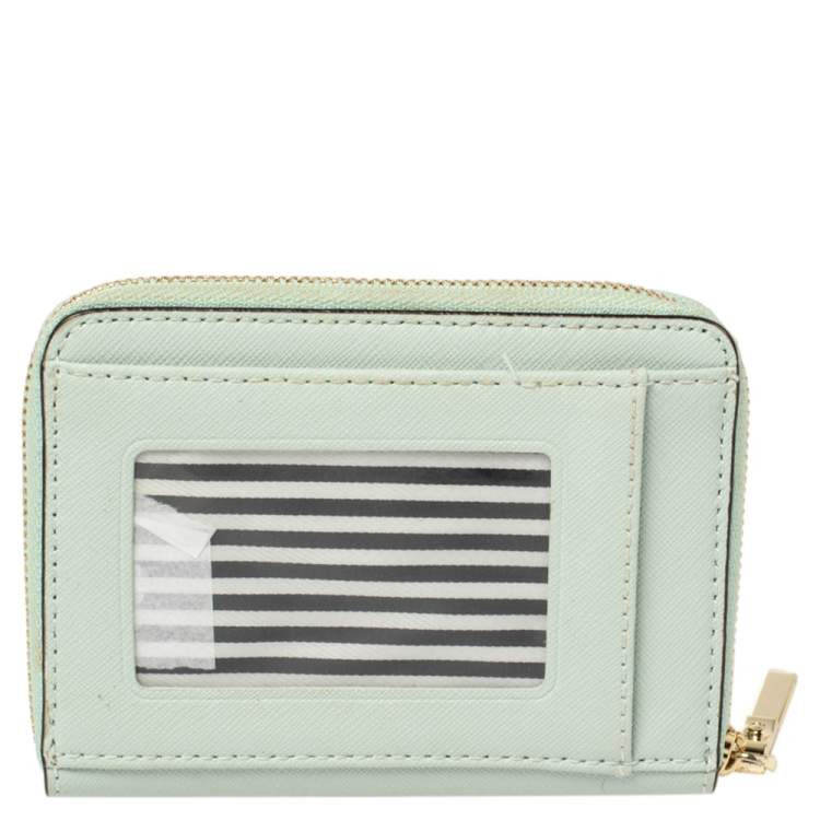 Kate Spade Mint Green Leather Zip Around Compact Wallet