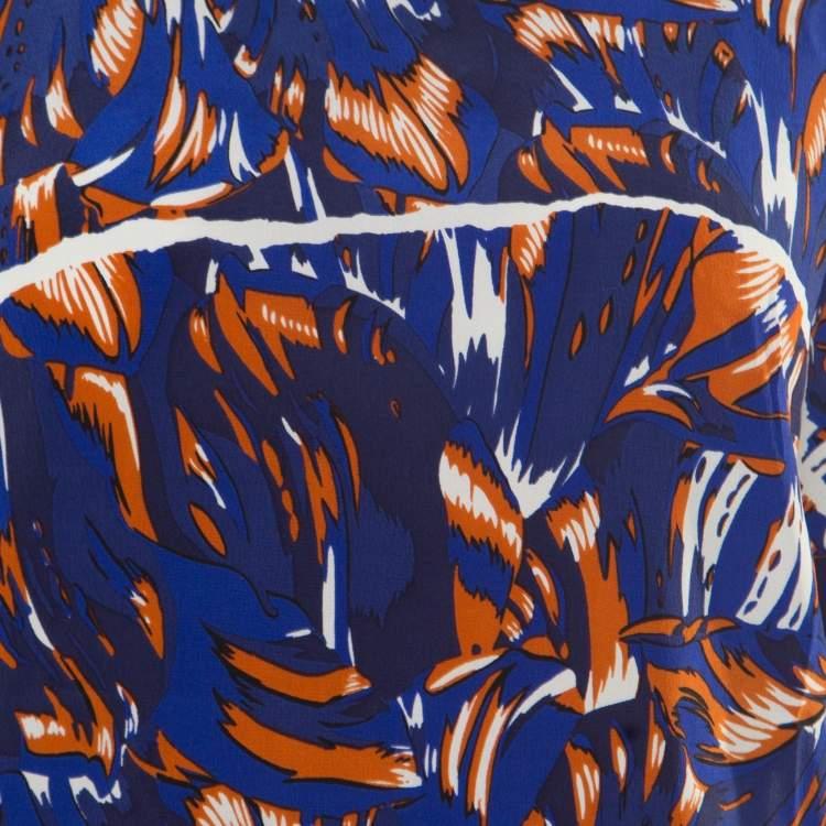 Kenzo Royal Blue Torn Flowers Printed Silk V Neck Blouse L