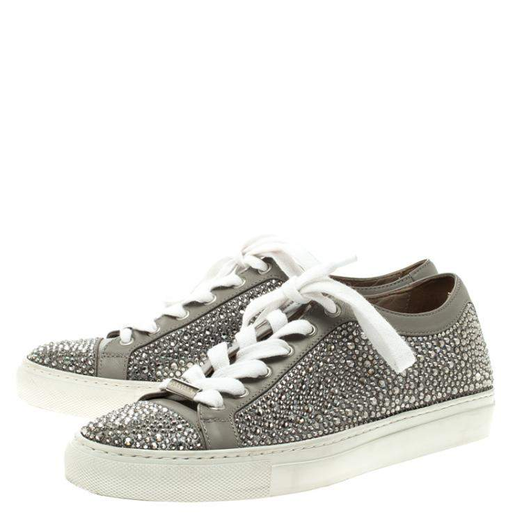 Le Silla Grey Crystal Embellished Leather Lace Up Sneakers Size 36