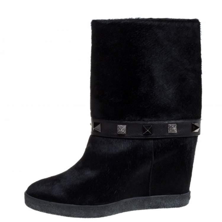 Le Silla Black Calfhair Studded Mid Length Boots Size 37
