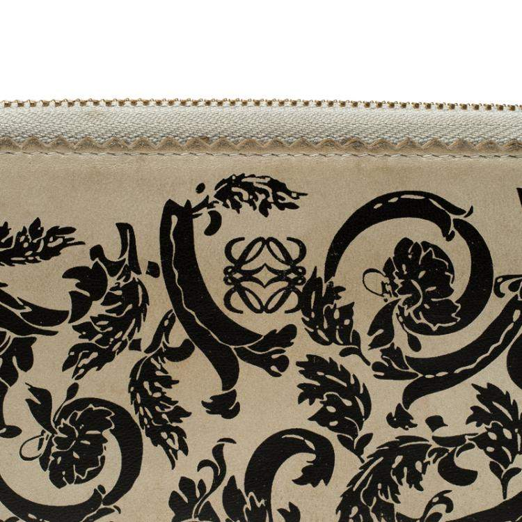 Loewe Off White Printed Leather Zip Around Continental Wallet