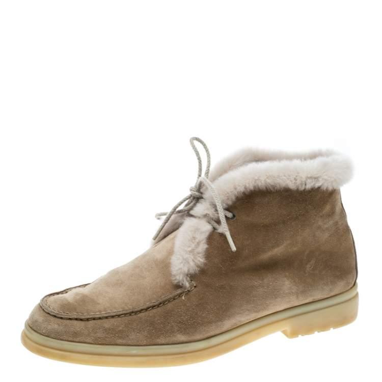 Fur Open Walk Ankle Boots Size 36