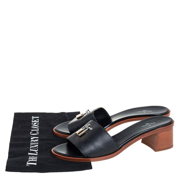 Louis Vuitton Black Leather Lock It Mule Sandals Size 41