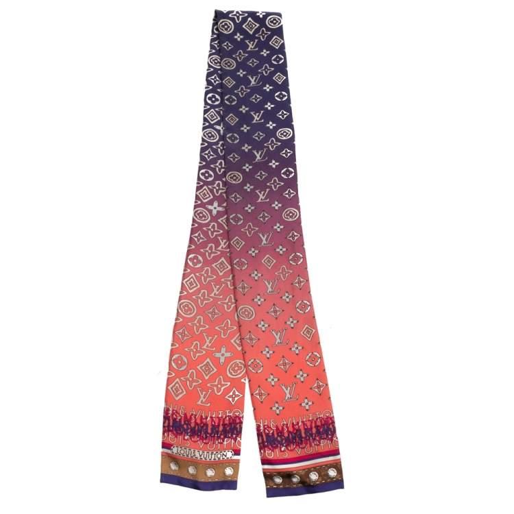 Louis Vuitton Purple & Pink Ombre Monogram Silk Bandeau Scarf