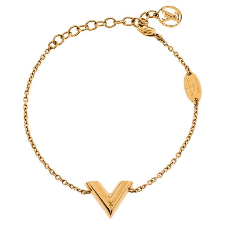 Louis Vuitton Gold Tone Essential V Bracelet