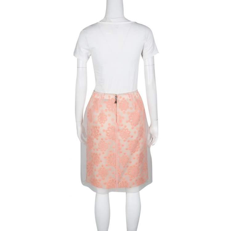 Louis Vuitton Floral Embroidered Detail Textured Skirt M