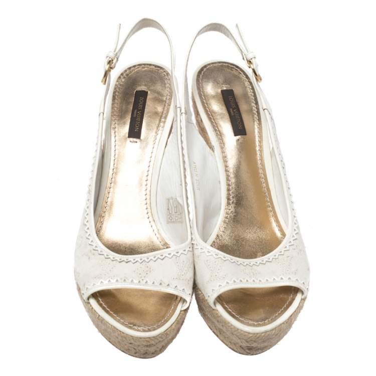 Louis Vuitton White Monogram Canvas And Patent Leather Platform Espadrille Wedge Sandals Size 38.5
