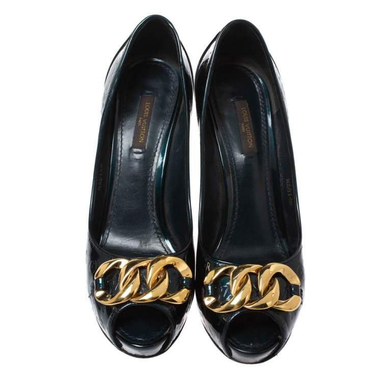 Louis Vuitton Green Monogram Vernis Claudia Peep Toe Pumps Size 37.5