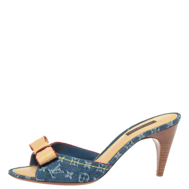 Louis Vuitton Blue Monogram Denim And Leather Bow Slide Sandals Size 38.5