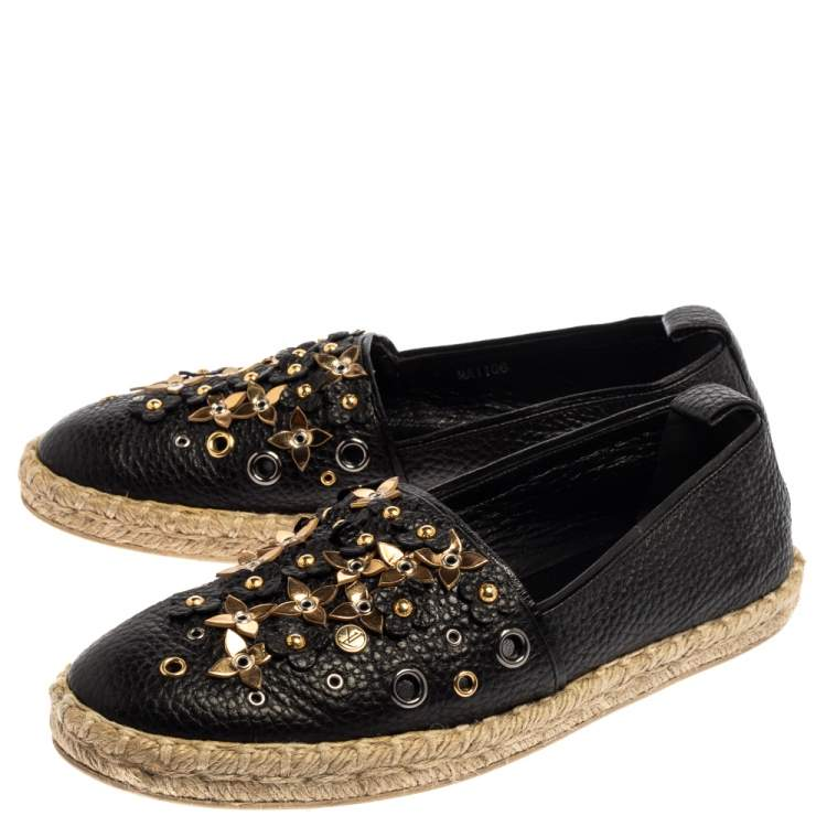 Louis Vuitton Black Leather Tropical Bloom Espadrille Size 37