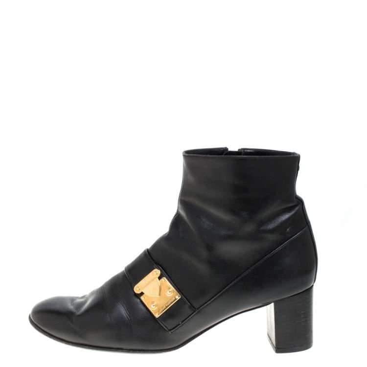 Louis Vuitton Black Leather Zip Ankle Boots Size 39.5