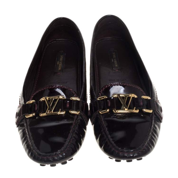 Louis Vuitton Burgundy Amarante Patent Leather Oxford Slip On Loafers Size 38
