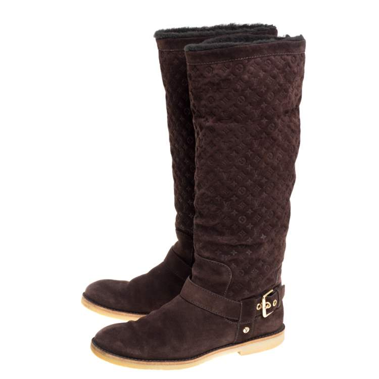 Louis Vuitton Brown Monogram Suede Fauvist Knee Boots Size 39.5