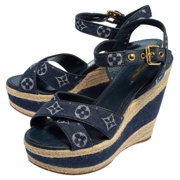 Louis Vuitton Denim Canvas Wedge Sandals Size 40