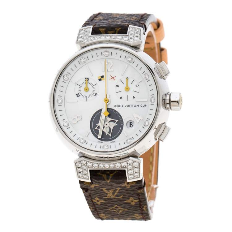 Louis Vuitton White Mother of Pearl Stainless Steel Diamonds Tambour Q132H Women's Wristwatch 34 mm
