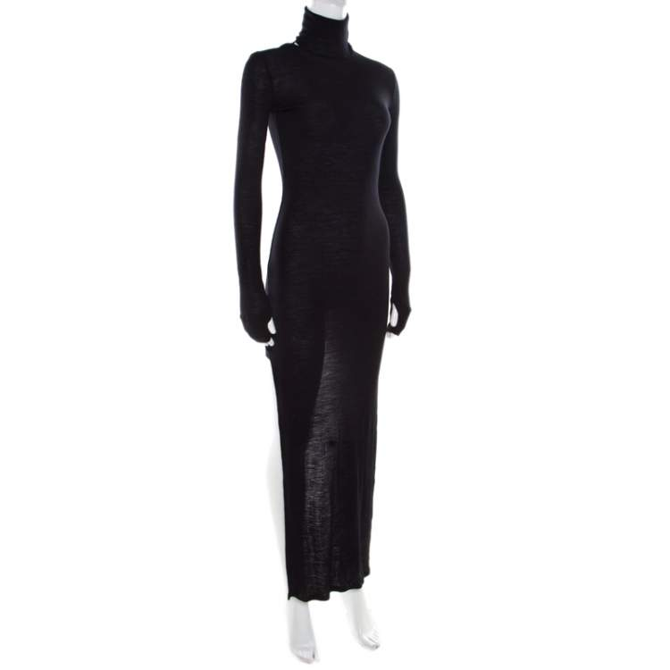 MM6 Maison Margiela Black Ribbed Knit Turtle Neck High Low