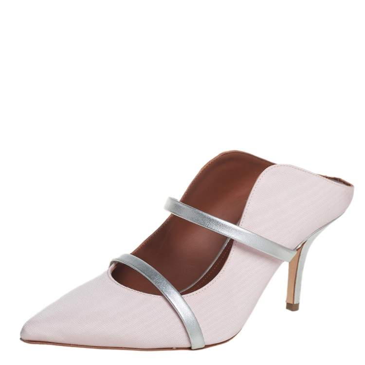 Malone Souliers Pink/Silver Fabric And Leather Maureen Pointed Toe Mules Sandals Size 35.5