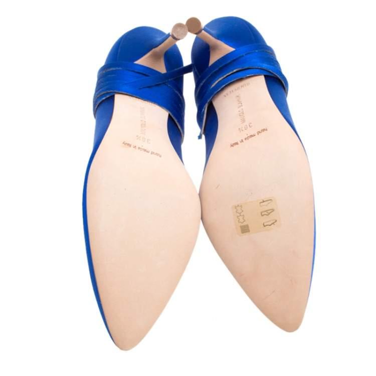 Vetements + Manolo Blahnik Blue Satin Pointed Toe Ankle Tie Pumps Size 38.5