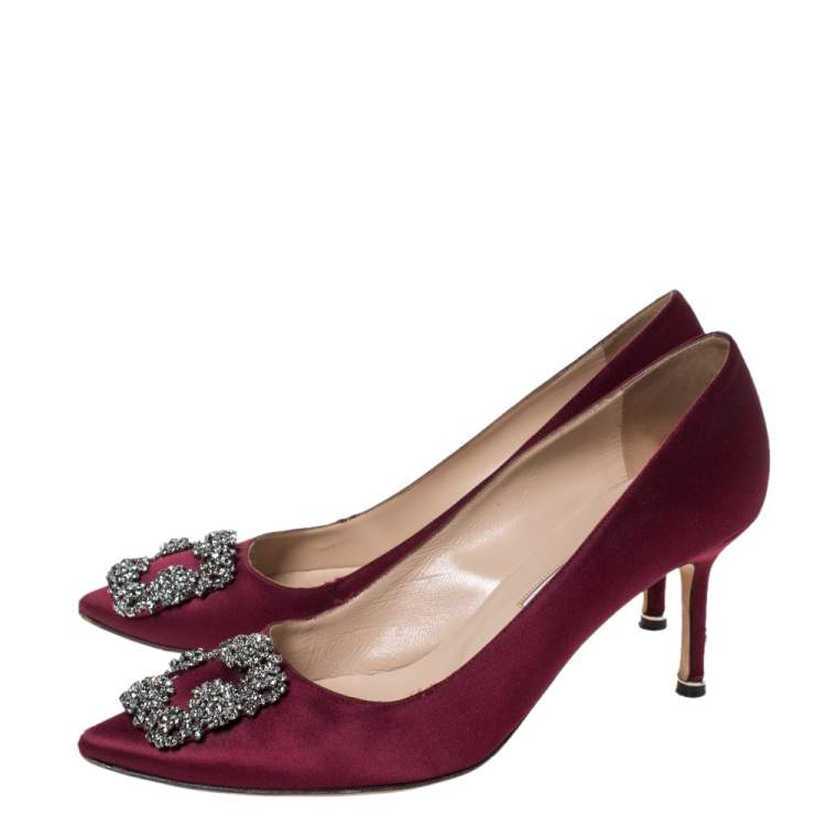 manolo blahnik burgundy shoes
