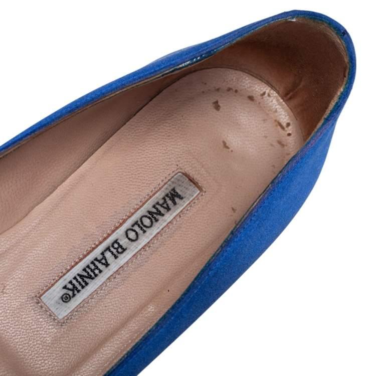 Manolo Blahnik Blue Satin Hangisi Ballet Flats Size 38.5