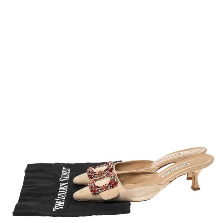 Manolo Blahnik Beige Suede Crystal Embellished Mules Sandal Size 39