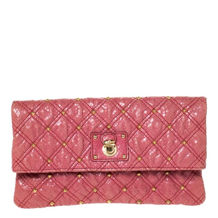 Marc Jacobs Pink Studded Leather Eugenie Clutch