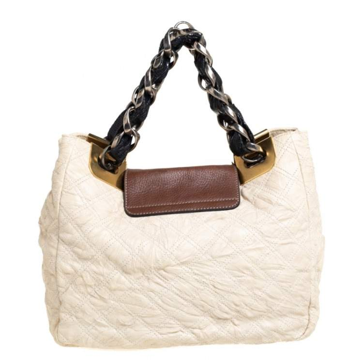 Marc Jacobs Cream/Brown Quilted Shimmer Leather Turnlock Flap Shoulder Bag