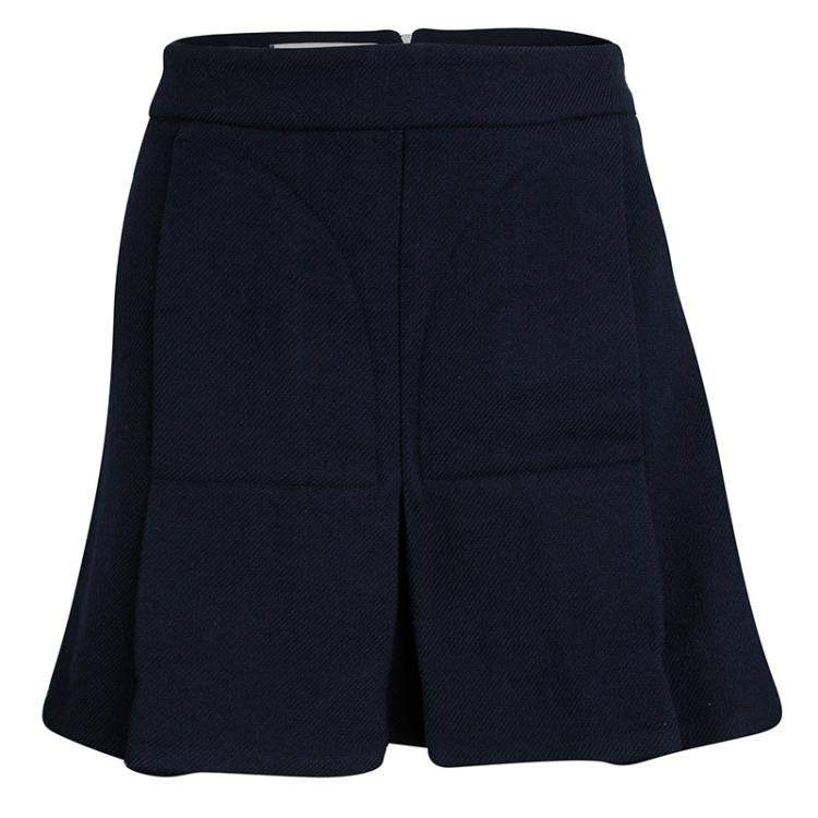 Marni Navy Blue Pleated Wool Mini Skirt M