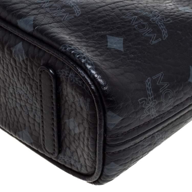 MCM Black Visetos Coated Canvas and Leather Mini Anya Zip Tote