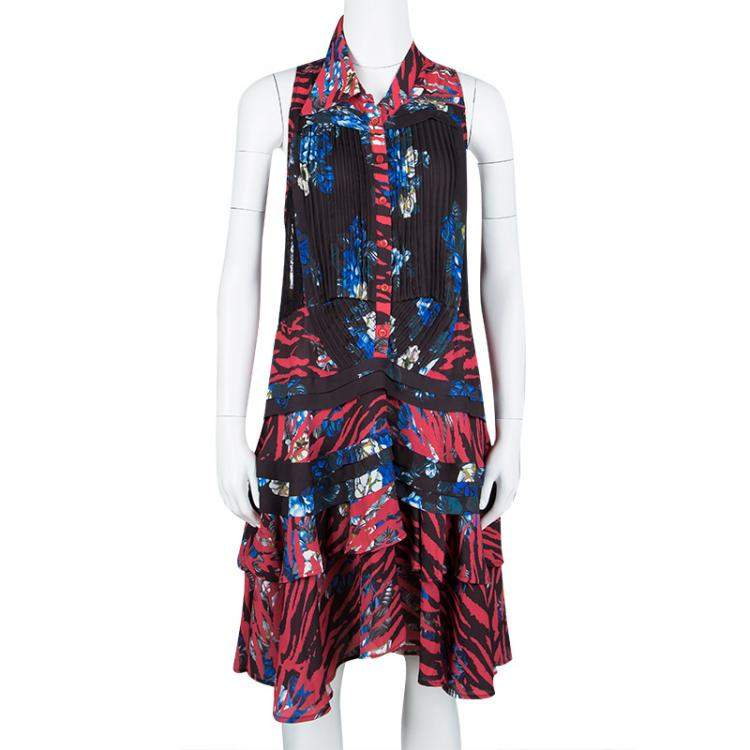 McQ By Alexander McQueen Floral Printed Lace Insert Pintucked Sleeveless Dress M