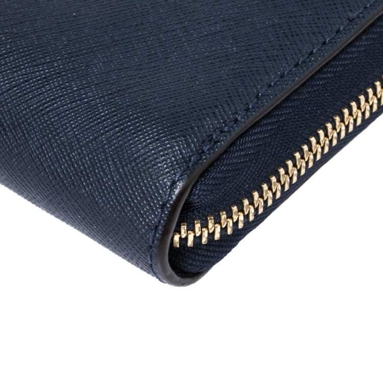 Michael Kors Navy Blue Leather Zip Around Wristlet Wallet