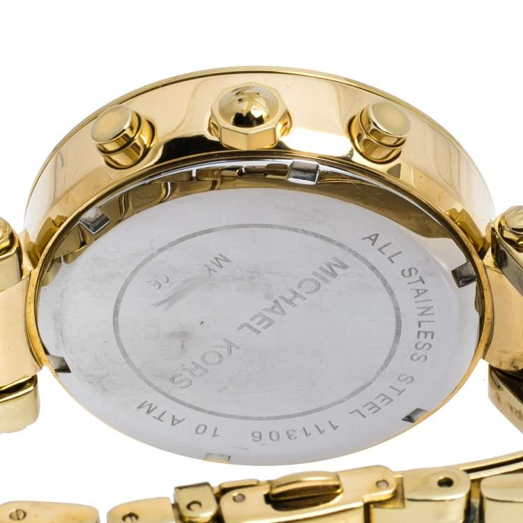 Michael Kors Yellow Gold Tone Stainless Steel Parker MK5354 Women's Wristwatch 39 mm