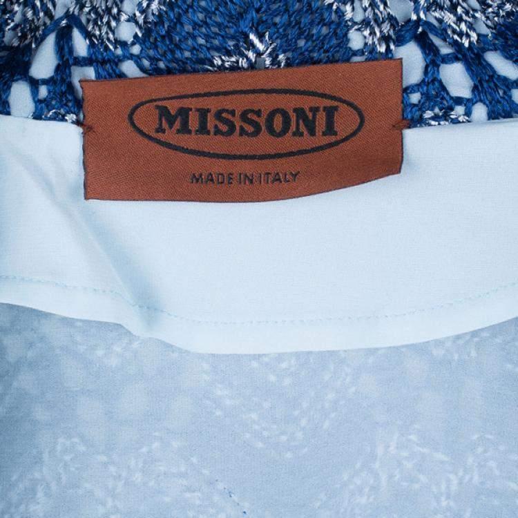 Missoni Blue Knit Bomber Jacket M