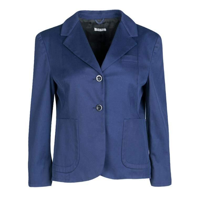 Miu Miu Navy Blue Top Stitch Detail Cropped Blazer M