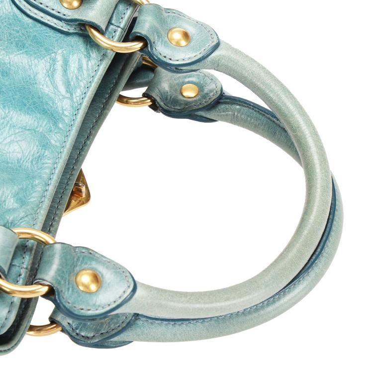 Miu Miu Blue Leather Bow-Accented Handle Bag