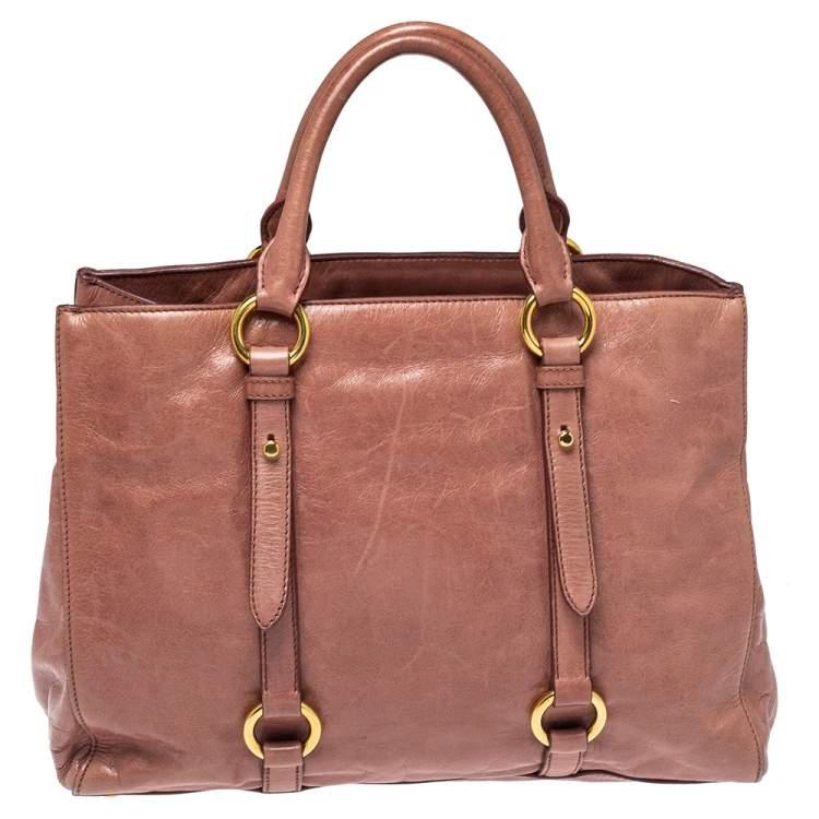 Miu Miu Pink Vitello Shine Leather Tote