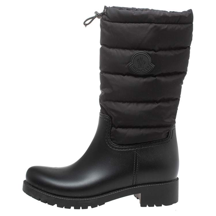 Moncler Black Nylon and Rubber Ginette Stivale Padded Mid Length Boots Size 37