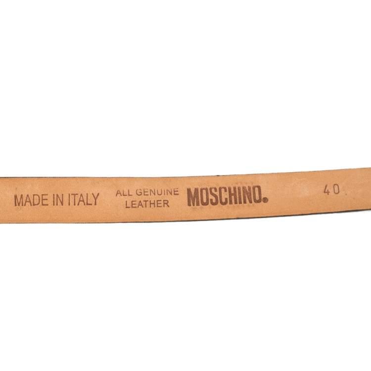 Moschino Blue Leather Logo Slim Waist Belt 80CM