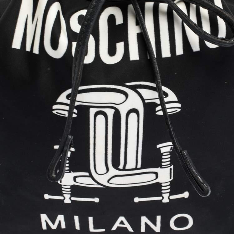 Moschino Black Logo Print Nylon and Leather Bucket Bag