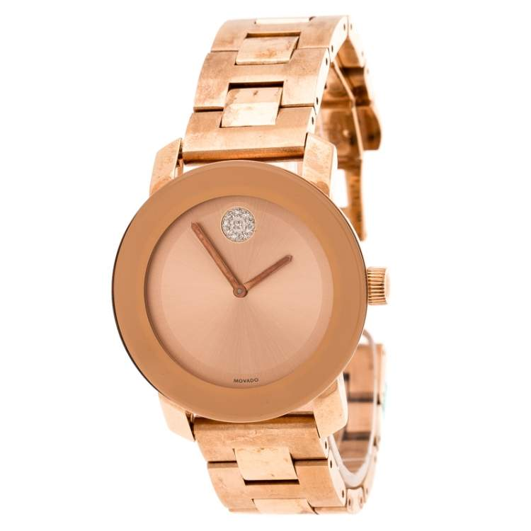 Movado Rose Gold Plated Stainless Steel Bold MB.01.3.34.6039 Women's Wristwatch 36 mm