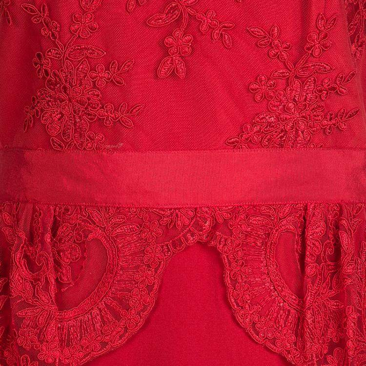 Notte By Marchesa Scarlet Red Embroidered Lace Peplum Dress M