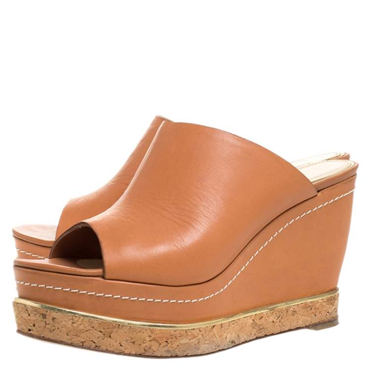 Paloma Barcelo Tan Leather Mule Platform Wedge Sandals Size 39