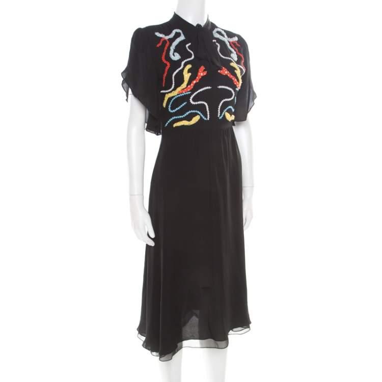 Paul and Joe Black Embellished Silk Grabel Dress S