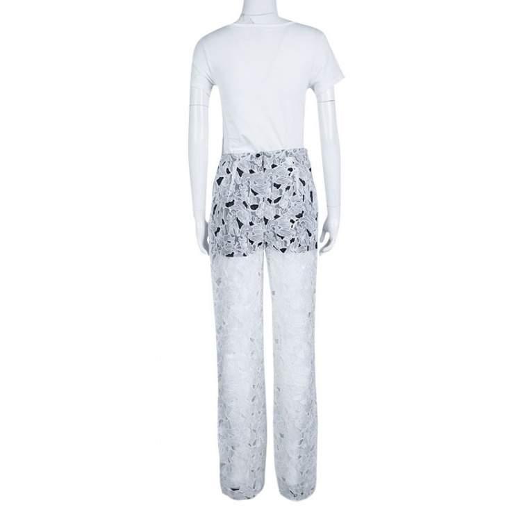 Peter Pilotto White Tabitha Cutout Ikebena Flower Embroidered Silk Organza Pants M
