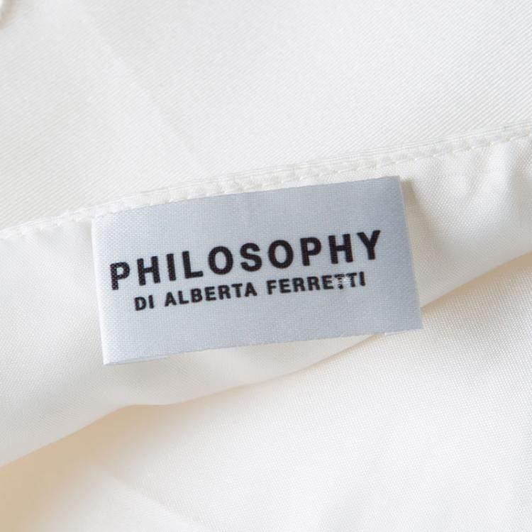 Philosophy di Alberta Ferretti Cream Cutout Embroidered Sleeveless Dress M