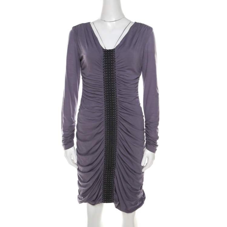 Philosophy Di Alberta Ferretti Lilac Jersey Embroidered Ruched Detail Dress M