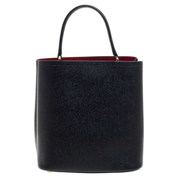 Prada Black Leather Medium Panier Top Handle Bag