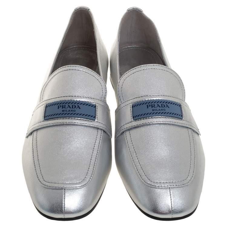 Prada Metallic Silver Leather Logo-Accented Loafers Size 40