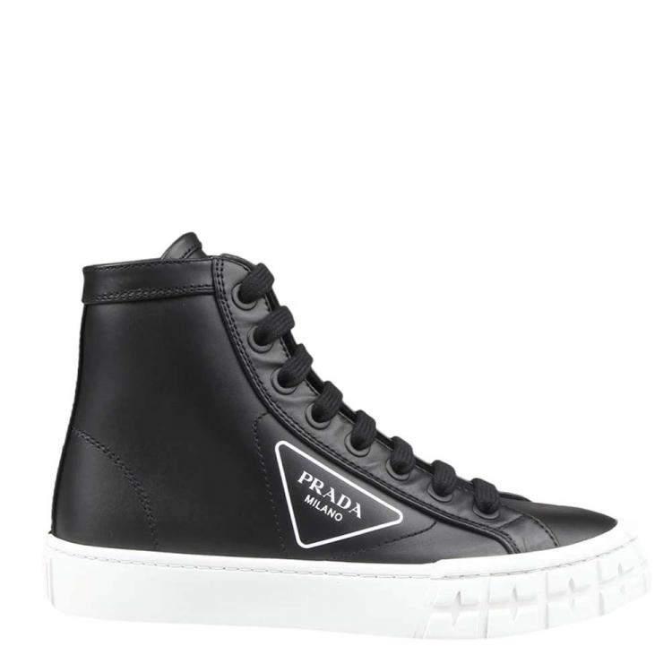Prada Black Leather High-top Sneakers Size EU 36